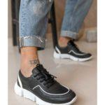 Ανδρικό Μαύρο Δερμάτινο Sneaker με Λευκό Ρέλι