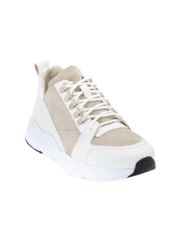 Ανδρικά Δερμάτινα Sneakers Λευκά – (2948)