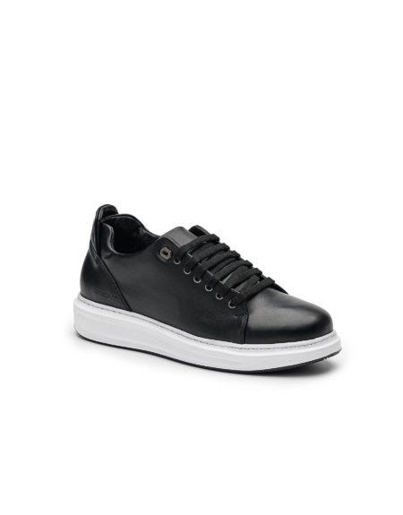 Ανδρικό Δερμάτινο Sneaker - Μαύρο (108 Black)