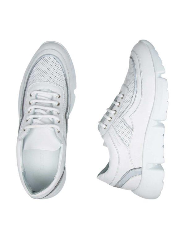 Ανδρικό Λευκό Δερμάτινο Sneaker με Λευκό Ρέλι