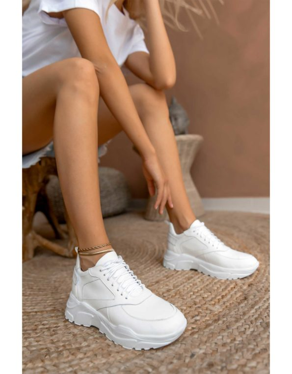 Γυναικείο Δερμάτινο Λευκό Sneaker