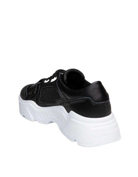 Γυναικείο Δερμάτινο Μαύρο Sneaker