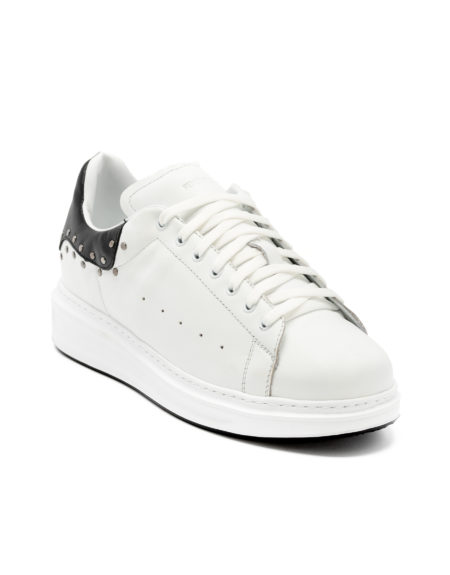 Ανδρικά Δερμάτινα Sneakers Με Τρουκς Λευκά - ( 462214-1 White)