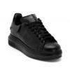 Ανδρικά Δίπατα Δερμάτινα Sneakers Μαύρα - (462214-2 Black)