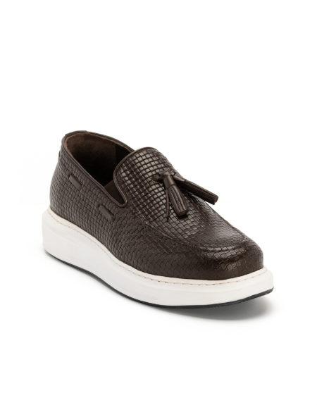 Ανδρικά Δερμάτινα Τυπωτά Loafers Σκούρο Καφέ - (2916 D. Brown)