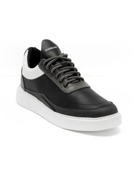 Ανδρικά Δερμάτινα Sneakers Μαύρα - (2223)