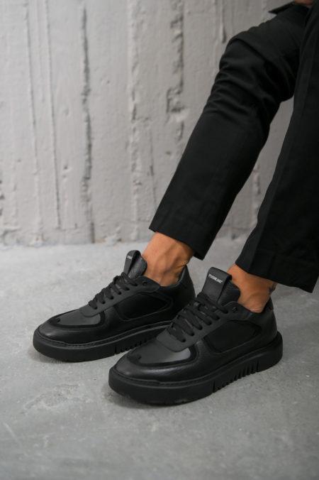 Ανδρικά Δερμάτινα Sneakers Μαύρα - (222 T. Black)